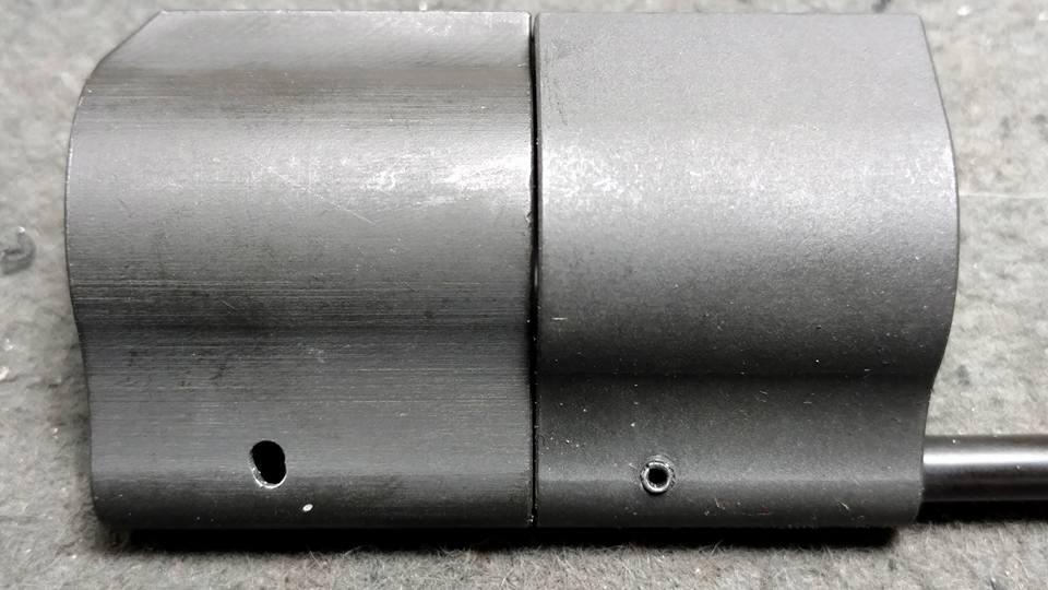 Oblong gas tube pin hole