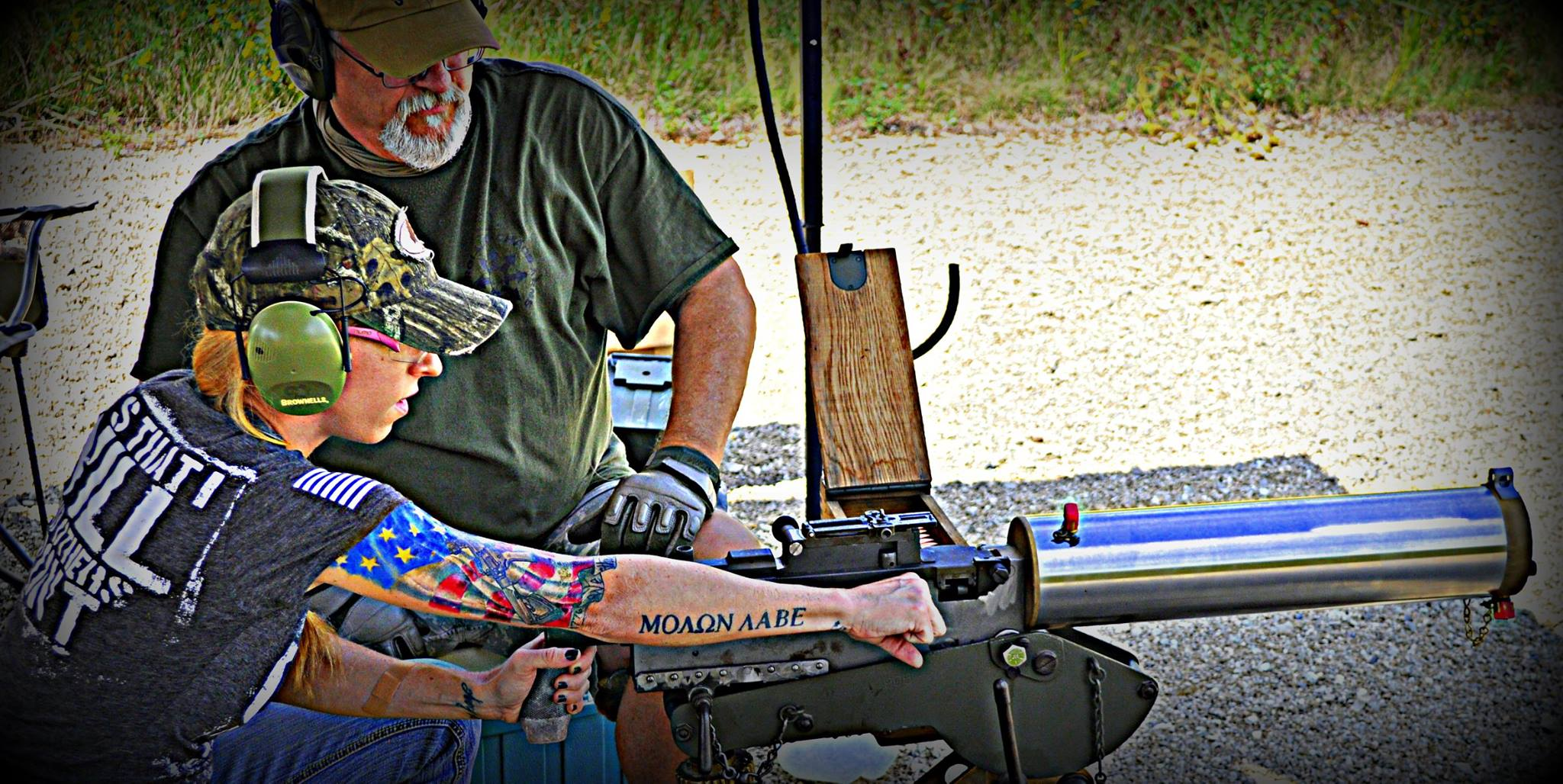 Dave and Lil' Red Danger at the range with a CCA belt fed 1917A1